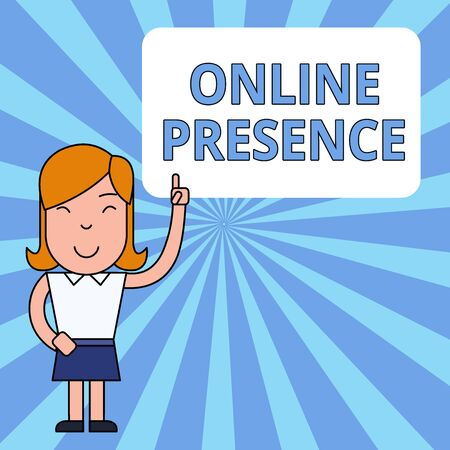 Writing note showing Online Presence. Business concept for existence of someone that can be found via an online search Woman Standing with Raised Left Index Finger Pointing at Blank Text Box Stock Photo