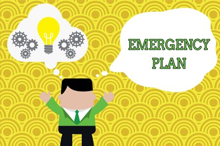 Word writing text Emergency Plan. Business photo showcasing Procedures for response to major emergencies Be prepared Standing man suit hands up imaginary bubble light bulb gears working together Stock Photo