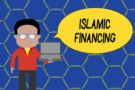 Conceptual hand writing showing Islamic Financing. Concept meaning Banking activity and investment that complies with sharia Man in suit wearing eyeglasses holding open laptop photo Art