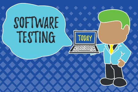 Writing note showing Software Testing. Business concept for investigation provide information about the quality of it Standing professional businessman holding open laptop right hand side Imagens