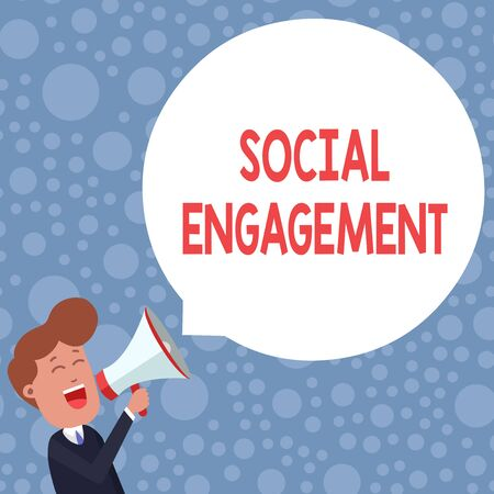 Conceptual hand writing showing Social Engagement. Concept meaning Degree of engagement in an online community or society Young Man Shouting in Megaphone Floating Round Speech Bubble