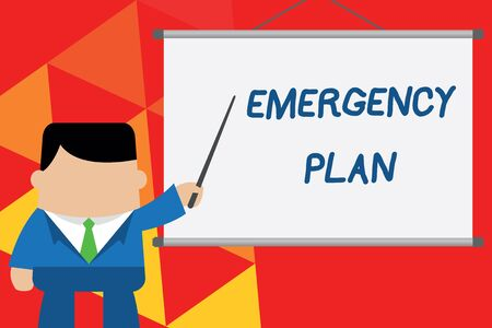 Conceptual hand writing showing Emergency Plan. Concept meaning Procedures for response to major emergencies Be prepared Businessman standing in front projector pointing project idea