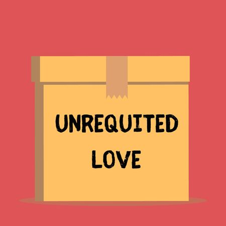Handwriting text Unrequited Love. Conceptual photo not openly reciprocated or understood as such by beloved Close up front view open brown cardboard sealed box lid. Blank background