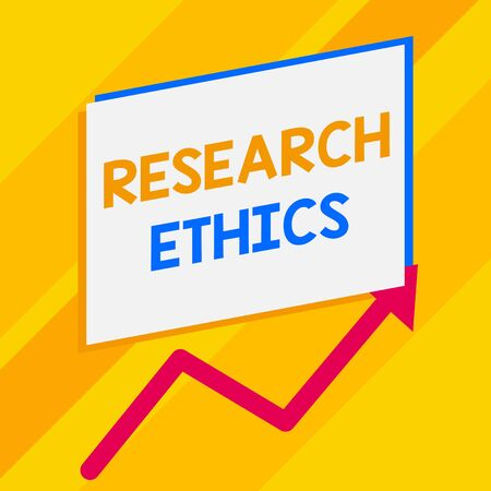 Conceptual hand writing showing Research Ethics. Concept meaning interested in the analysis ofethicalissues that raised Blank rectangle above another zigzag upwards increasing sale