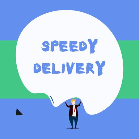 Text sign showing Speedy Delivery. Business photo showcasing provide products in fast way or same day shipping overseas Front view standing man dressed suit tie two hands up big deflated balloon