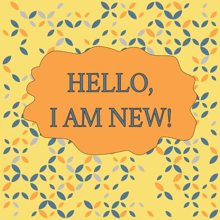 Text sign showing Hello I Am New. Business photo text introducing oneself in a group as fresh worker or student Seamless Endless Infinite Summer Autumn Leaf Texture Multicolored Pattern