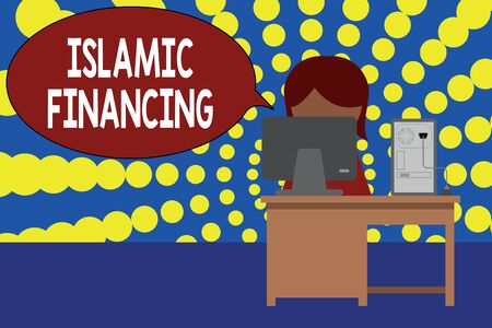 Word writing text Islamic Financing. Business photo showcasing Banking activity and investment that complies with sharia Young female working office sitting desktop computer office monitor photo