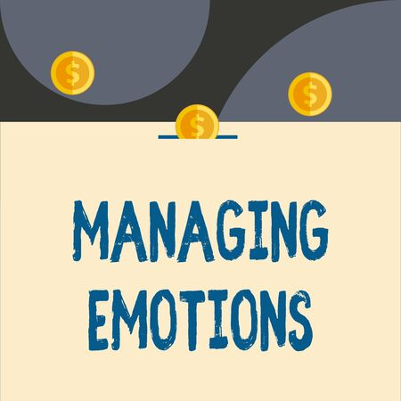 Text sign showing Managing Emotions. Business photo showcasing Controlling feelings in oneself Maintain composure Front view close up three penny coins icon one entering collecting box slot