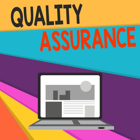 Handwriting text writing Quality Assurance. Conceptual photo Ensures a certain level of quality Established requirement Open Modern Laptop Switched On with Website Homepage on Screen Web Search