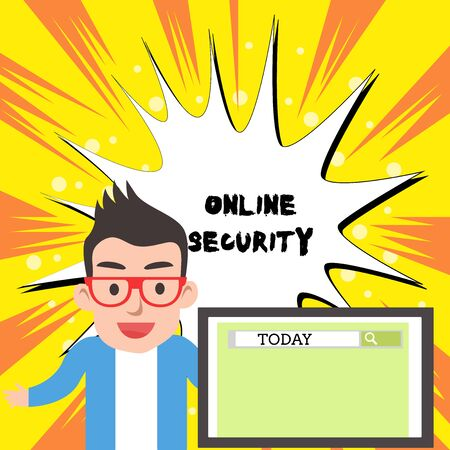 Handwriting text writing Online Security. Conceptual photo rules to protect against attacks over the Internet Male Speaker Monitor with Search Tool on Screen Presentation or Report