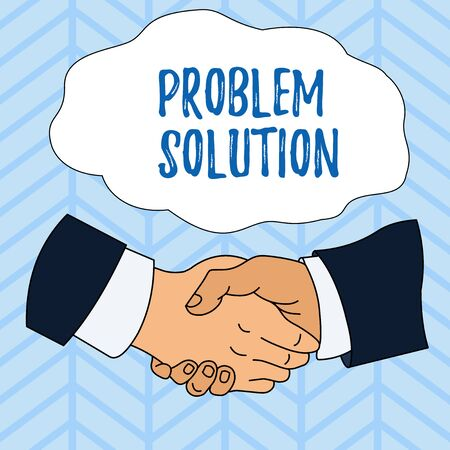 Writing note showing Problem Solution. Business concept for solving consists of using generic methods in orderly analysisner Hand Shake Multiracial Male Colleagues Formal Shirt Suit