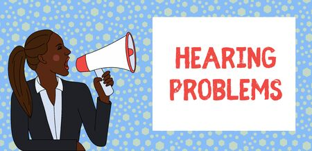 Text sign showing Hearing Problems. Business photo text is partial or total inability tolisten to sounds normally Young Woman Jacket Ponytail Shouting into Loudhailer Rectangular Text Box