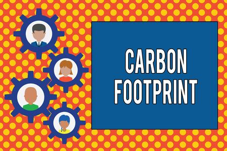 Text sign showing Carbon Footprint. Business photo showcasing amount of dioxide released atmosphere result of activities Gearshaped picture frame family ornament mother father daughter son photo