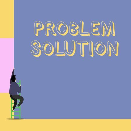Word writing text Problem Solution. Business photo showcasing solving consists of using generic methods in orderly analysisner Back view young man climbing up staircase ladder lying big blank rectangle