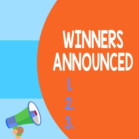 Handwriting text writing Winners Announced. Conceptual photo Announcing who won the contest or any competition Half part blank huge balloon empty text with small megaphone. Announcement