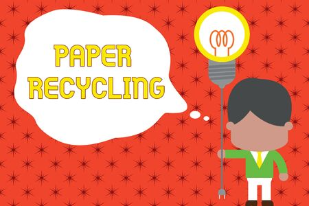 Word writing text Paper Recycling. Business photo showcasing Using the waste papers in a new way by recycling them Standing man tie holding plug socket light bulb to connect idea. Startup