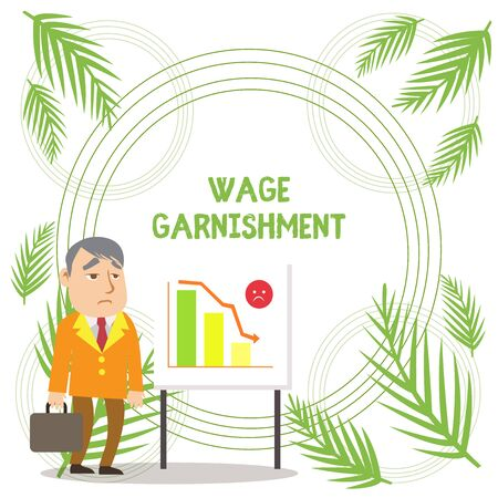 Handwriting text writing Wage Garnishment. Conceptual photo Deducting money from compensation ordered by the court Businessman Clerk with Brief Case Standing Whiteboard Declining Bar Chart