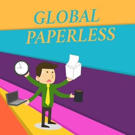 Handwriting text writing Global Paperless. Conceptual photo going for technology methods like email instead of paper Stressed Out Male Employee Manager Many Armed Multitasking Meet Deadline