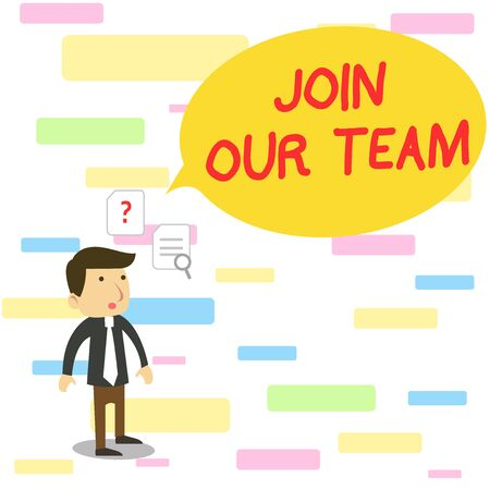 Text sign showing Join Our Team. Business photo text inviting someone to join in your local group or company Young Male Businessman Office Worker Standing Searching Problem Solution Stock Photo