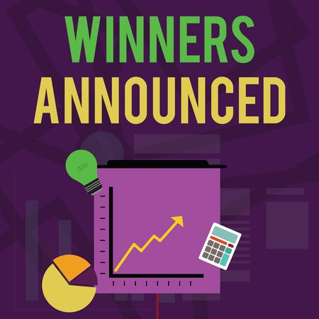 Text sign showing Winners Announced. Business photo text Announcing who won the contest or any competition Investment Icons of Pie and Line Chart with Arrow Going Up, Bulb, Calculator 写真素材