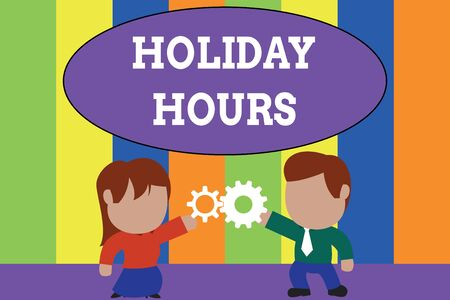 Text sign showing Holiday Hours. Business photo text employee receives twice their normal pay for all hours Standing young couple sharing gear. Man tie woman skirt commerce relation
