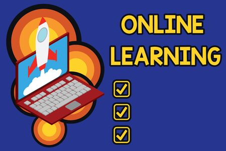 Writing note showing Online Learning  Business concept for Larning