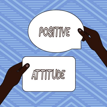 Handwriting text writing Positive Attitude. Conceptual photo Being optimistic in Life Looking for good things Two Blank Figured Tablets Signs Held in Hands One Above Other Text Space