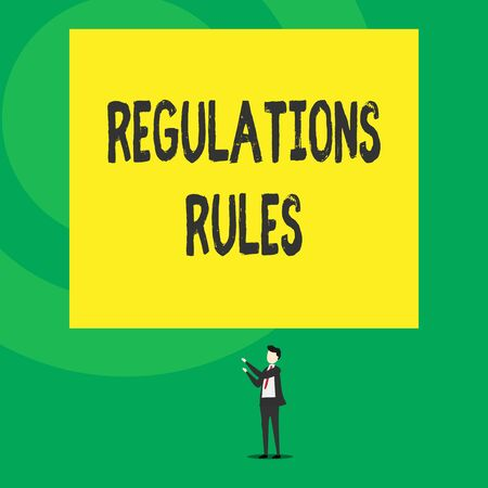 Word writing text Regulations Rules. Business photo showcasing Standard Statement Procedure govern to control a conduct Isolated view young man standing pointing upwards two hands big rectangle Banque d'images - 124651035