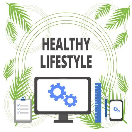 Handwriting text writing Healthy Lifestyle. Conceptual photo Live Healthy Engage in physical activity and exercise Business Concept PC Monitor Mobile Device Clipboard Ruler Ballpoint Pen