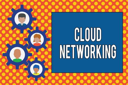 Text sign showing Cloud Networking. Business photo showcasing is term describing access of networking resources Gearshaped picture frame family ornament mother father daughter son photo