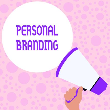 Writing note showing Personal Branding. Business concept for Practice of People Marketing themselves Image as Brands Hand Holding Loudhailer Speech Text Balloon Announcement New Foto de archivo