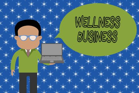 Text sign showing Wellness Business. Business photo showcasing Professional venture focusing the health of mind and body Standing man in suit wearing eyeglasses holding open laptop photo Art
