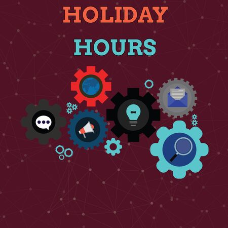 Handwriting text Holiday Hours. Conceptual photo employee receives twice their normal pay for all hours Set of Global Online Social Networking Icons Inside Colorful Cog Wheel Gear