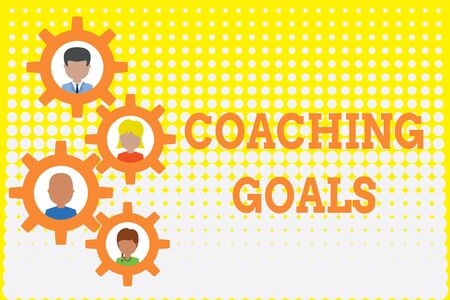 Conceptual hand writing showing Coaching Goals. Concept meaning Empowers individuals Encourages them to take responsibility Gearshaped picture frame family ornament Whole Family photo 版權商用圖片