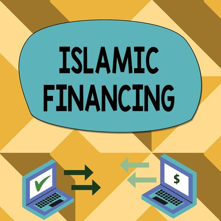 Text sign showing Islamic Financing. Business photo showcasing Banking activity and investment that complies with sharia Exchange Arrow Icons Between Two Laptop with Currency Sign and Check Icons