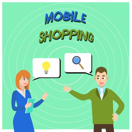 Conceptual hand writing showing Mobile Shopping. Concept meaning Buying and selling of goods and services through mobile Business Partners Colleague Jointly Seeking Problem Solution