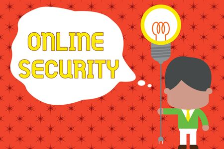 Word writing text Online Security. Business photo showcasing rules to protect against attacks over the Internet Standing man tie holding plug socket light bulb to connect idea. Startup Stock Photo