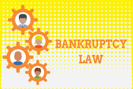 Conceptual hand writing showing Bankruptcy Law. Concept meaning Designed to help creditor in getting the asset of the debtor Gearshaped picture frame family ornament Whole Family photo Фото со стока
