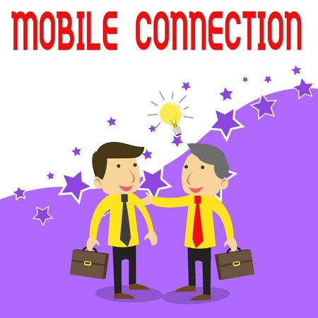Handwriting text writing Mobile Connection. Conceptual photo Secure universal login solution using mobile phone Two White Businessmen Colleagues with Brief Cases Sharing Idea Solution Reklamní fotografie