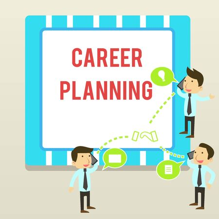 Word writing text Career Planning. Business photo showcasing Strategically plan your career goals and work success Businessmen Coworkers Conference Call Conversation Discussion Mobile Phones 写真素材 - 124652921