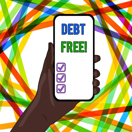 Handwriting text writing Debt Free. Conceptual photo does not owning any money to any individual or companies Closeup of Smartphone Device Held in Hand with Empty Screen and Text Space