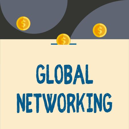Text sign showing Global Networking. Business photo showcasing Communication network which spans the entire Earth WAN Front view close up three penny coins icon one entering collecting box slot