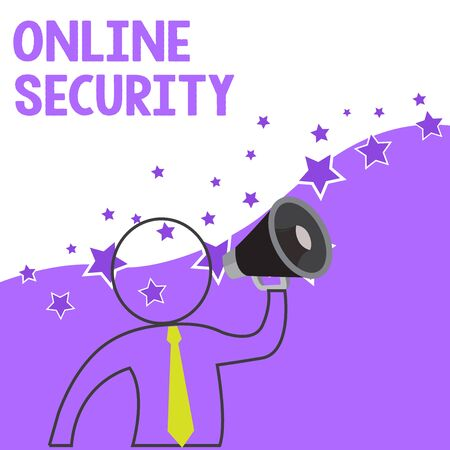 Text sign showing Online Security. Business photo showcasing rules to protect against attacks over the Internet Outline Symbol Man Loudspeaker Making Announcement Giving Instructions