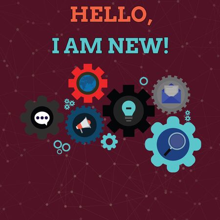 Handwriting text Hello I Am New. Conceptual photo introducing oneself in a group as fresh worker or student Set of Global Online Social Networking Icons Inside Colorful Cog Wheel Gear
