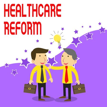 Handwriting text writing Healthcare Reform. Conceptual photo Innovation and Improvement in the quality of care program Two White Businessmen Colleagues with Brief Cases Sharing Idea Solution