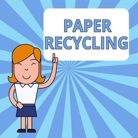 Writing note showing Paper Recycling. Business concept for Using the waste papers in a new way by recycling them Woman Standing with Raised Left Index Finger Pointing at Blank Text Box