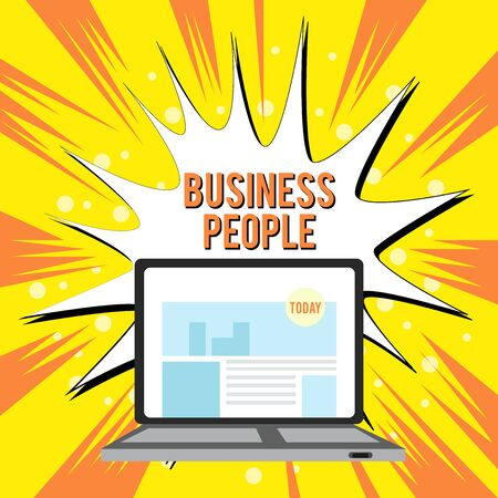 Text sign showing Business People. Business photo text People who work in business especially at an executive level Open Modern Laptop Switched On with Website Homepage on Screen Web Search