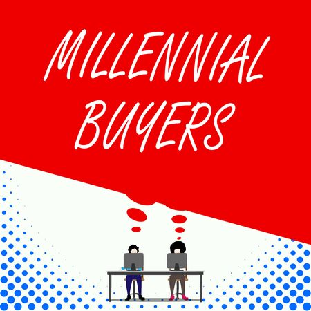 Text sign showing Millennial Buyers. Business photo text Type of consumers that are interested in trending products Two men sitting behind desk each one laptop sharing blank thought bubble 版權商用圖片