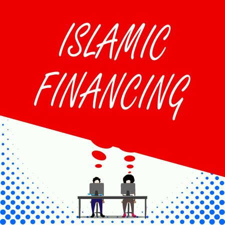 Text sign showing Islamic Financing. Business photo text Banking activity and investment that complies with sharia Two men sitting behind desk each one laptop sharing blank thought bubble 写真素材