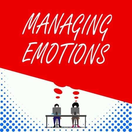 Text sign showing Managing Emotions. Business photo text Controlling feelings in oneself Maintain composure Two men sitting behind desk each one laptop sharing blank thought bubble Stok Fotoğraf